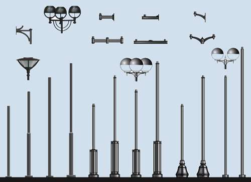 Уличное освещение на столбах